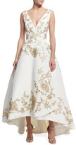 Oscar de la Renta Embroidered Silk Faille High-Low Gown, White