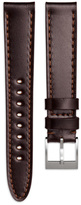 Uniform Wares Men's shell cordovan leather watch strap in brown with brushed steel buckle