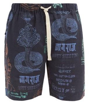 Desmond & Dempsey Khan Market-print Linen Pyjama Shorts - Black Multi