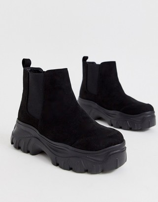 Truffle Collection chunky sole chelsea boots in black