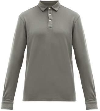 Altea Long-sleeved Cotton-jersey Polo Shirt - Mens - Khaki