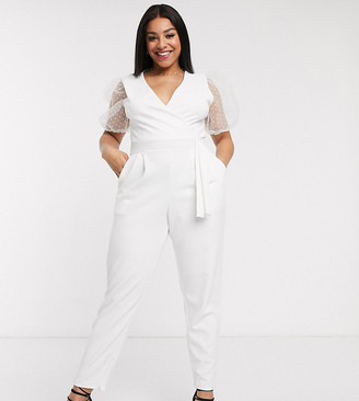 Outrageous Fortune Plus wrap front jumpsuit with organza puff sleeve detail in white