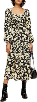 Topshop Daisy Pleat Bodice Long Sleeve Midi Dress