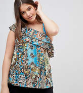 Lovedrobe One Shoulder Scarf Print Frill Blouse