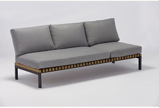 Longshore Tides Elian Patio Sofa with Cushion Frame Color: Black, Cushion Color: Light Gray