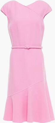 Oscar de la Renta Fluted Belted Wool-blend Crepe Dress