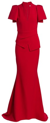 Safiyaa Mirama Heavy Crepe Peplum Mermaid Gown