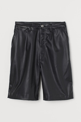 H&M Faux Leather Shorts - Black