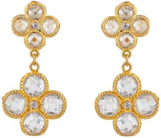 Latelita Flower Clover Double Drop Earrings Gold