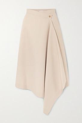 Deveaux Asymmetric Twill Wrap Midi Skirt - Beige