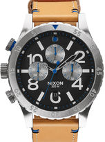 Nixon 48-20 Chrono Gator Natural Leather Strap Black Dial Watch