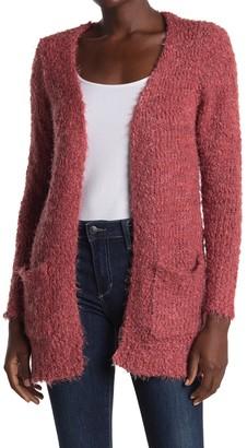 Woven Heart Eyelash Knit Long Cardigan