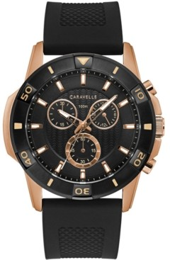 Caravelle Men's Chronograph Black Silicone Strap Watch 48mm