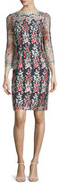Erin Fetherston Garland Wisteria-Embroidered Sheath Dress, Black/Multi