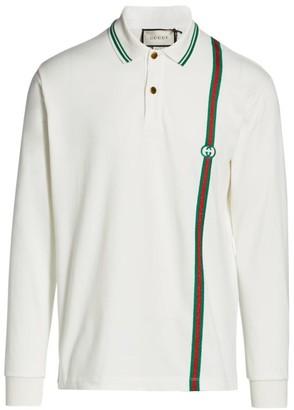 Gucci Cotton Polo With Web & Interlocking G
