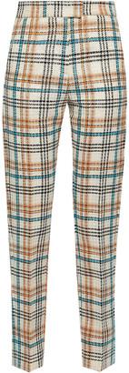 MSGM Checked Cotton-blend Jacquard Slim-leg Pants