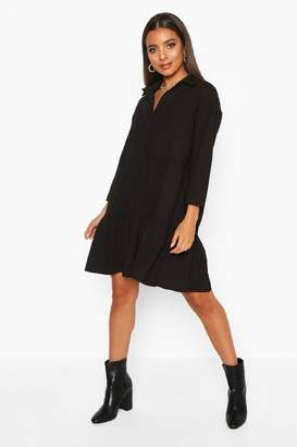 boohoo Woven Tierred Utility Shirt Smock Dress