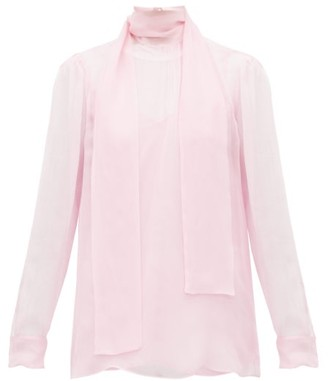 Valentino Tie-neck Sheer Chiffon Blouse - Womens - Light Pink