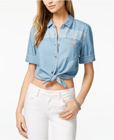 GUESS Originals Cotton Cropped Denim Shirt