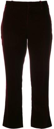 Saint Laurent Burgundy Mid rise flared velvet trousers