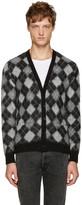 Saint Laurent Black & White Argyle Cardigan