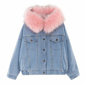 KPILP with Fur Hood Cotton Lining Long Winter Denim Jackets for Women Winter Warm Denim Coats Plus Size Female Jackets Baggy Outerwear Women Parka Coat(Pink 12 UK/L CN)