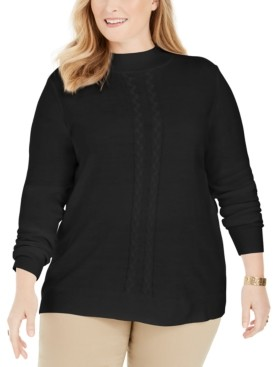 Karen Scott Plus Size Luxsoft Cable-Knit Sweater, Created for Macy's