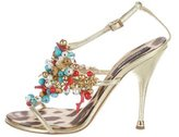 Roberto Cavalli Metallic Embellished Sandals