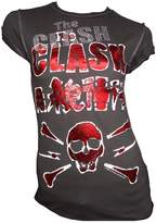 Amplified Vintage Woman T-Shirt Charcoal Official THE CLASH Skull Diamante S