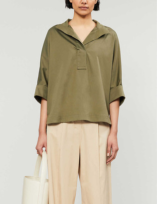 Ted Baker Cropped-sleeve stretch-cotton shirt