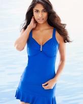 Soma Intimates Sunset Hues Tropical Sea D/DD Cup Swim Tankini Top Blue