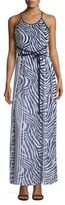 MICHAEL Michael Kors Plains Zebra-Print Pleated Maxi Dress