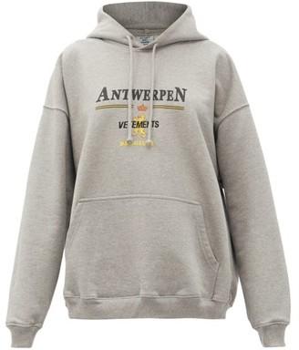 Vetements Antwerpen Logo-print Cotton Hooded Sweatshirt - Grey