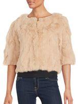 La Fiorentina Solid Cropped Rabbit Fur Top