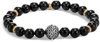 John Hardy Sterling Silver & 18K Yellow Gold Classic Chain Black Onyx Bead Bracelet