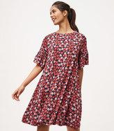 LOFT Floral Bell Sleeve Swing Dress