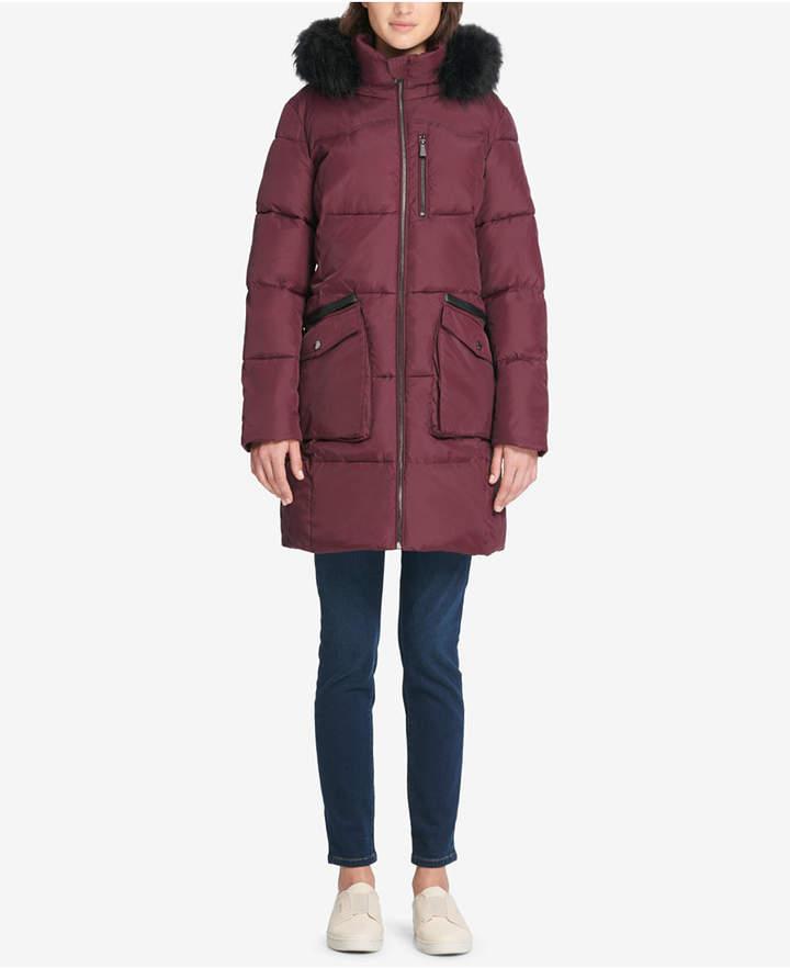 DKNY Faux-Fur-Trim Hooded Puffer Coat