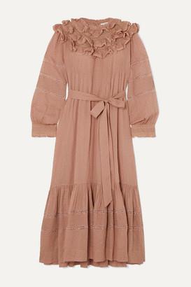 DÔEN Avena Ruffled Lace-trimmed Swiss-dot Cotton Midi Dress - Pink