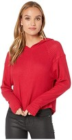 Chaser Thermal High-Low Pullover Hoodie with Thumbhole (Rouge) Women's Clothing