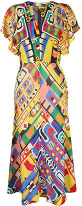 Stella Jean Abstract Print Midi Dress