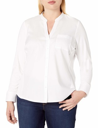 Calvin Klein Women's Plus-Size Non-Iron Knit Combo Shirt