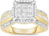 MODERN BRIDE Womens 1 CT. T.W. Genuine Princess Diamond 10K Gold Engagement Ring
