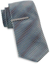 Gold Series Dot Grid Tie with Tie Bar Casual Male XL Big & Tall