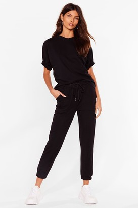Nasty Gal Womens From How We Tee It Tee and Jogger Set - Black - 6