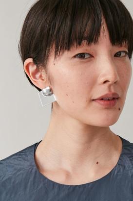 Cos Embossed Square Earrings