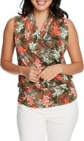 Chaus Tropical Print Sleeveless Faux Wrap Top