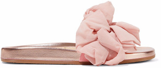 Charlotte Olympia Naia Ruffled Organza-appliqued Suede And Metallic Leather Slides