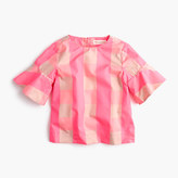 J.Crew Girls' ruffle-sleeve shirt in neon buffalo check