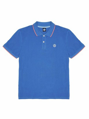 North Sails Men's Polo Shirt in Royal Cotton Pique with Short Sleeves and Front Button Placket - XXL