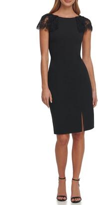 Eliza J Lace Applique Sleeve Cocktail Dress